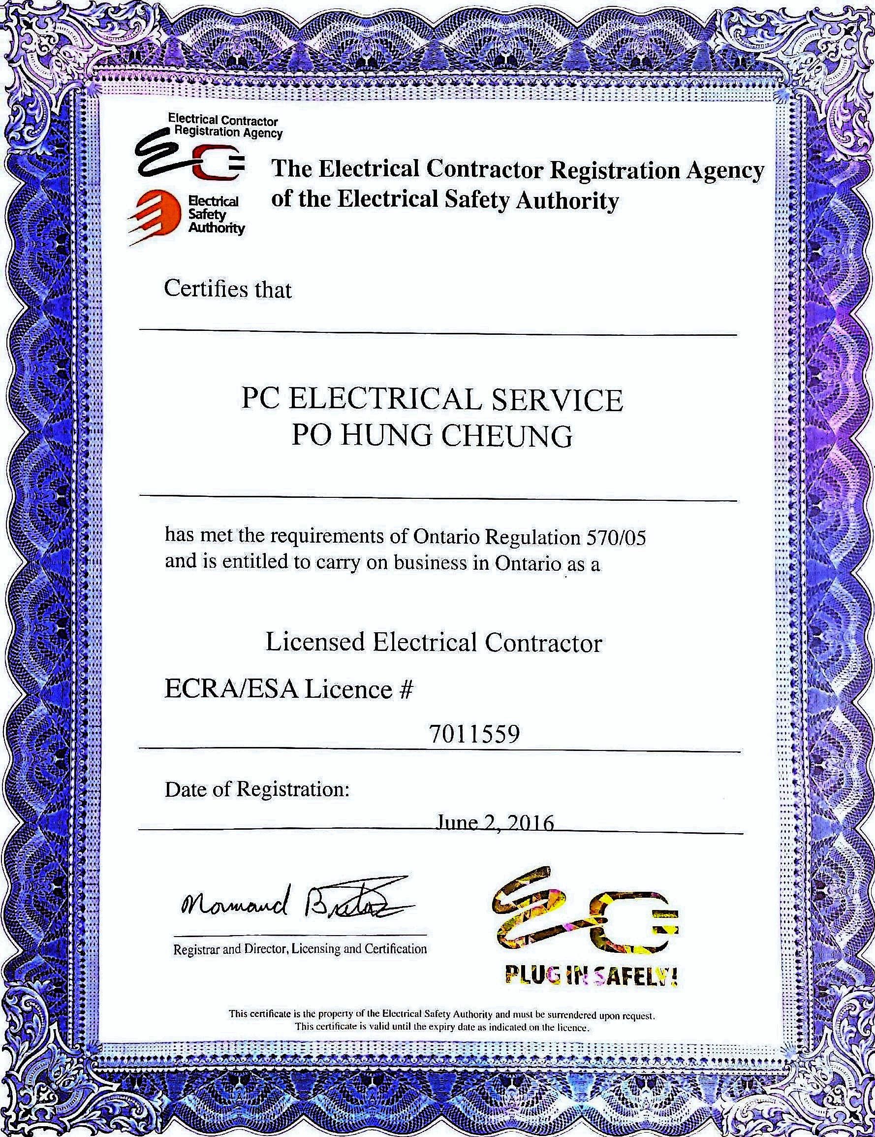Pc electrical service tel 647 502 0813 text or call for free register with esa electrical safety authority licence 7011559 and certificate of registration ontario master business licence 260534896 xflitez Images